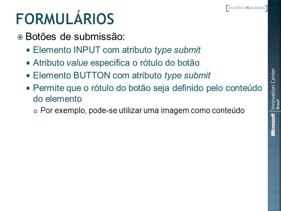 Botões de submissão: Elemento INPUT com atributo type submit Atributo value especifica o rótulo do botão Elemento BUTTON com atributo type submit Perm
