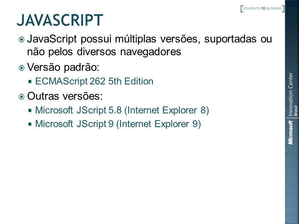 JavaScript possui múltiplas versões, suportadas ou não pelos diversos navegadores Versão padrão: ECMAScript 262 5th Edition Outras versões: Microsoft