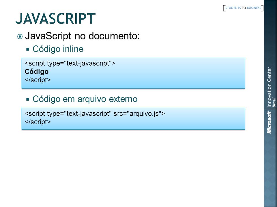 JavaScript no documento: Código inline Código em arquivo externo Código Código