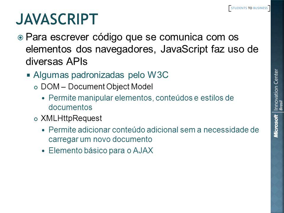Para escrever código que se comunica com os elementos dos navegadores, JavaScript faz uso de diversas APIs Algumas padronizadas pelo W3C DOM – Documen
