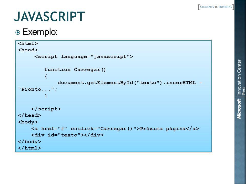 Exemplo: function Carregar() { document.getElementById(