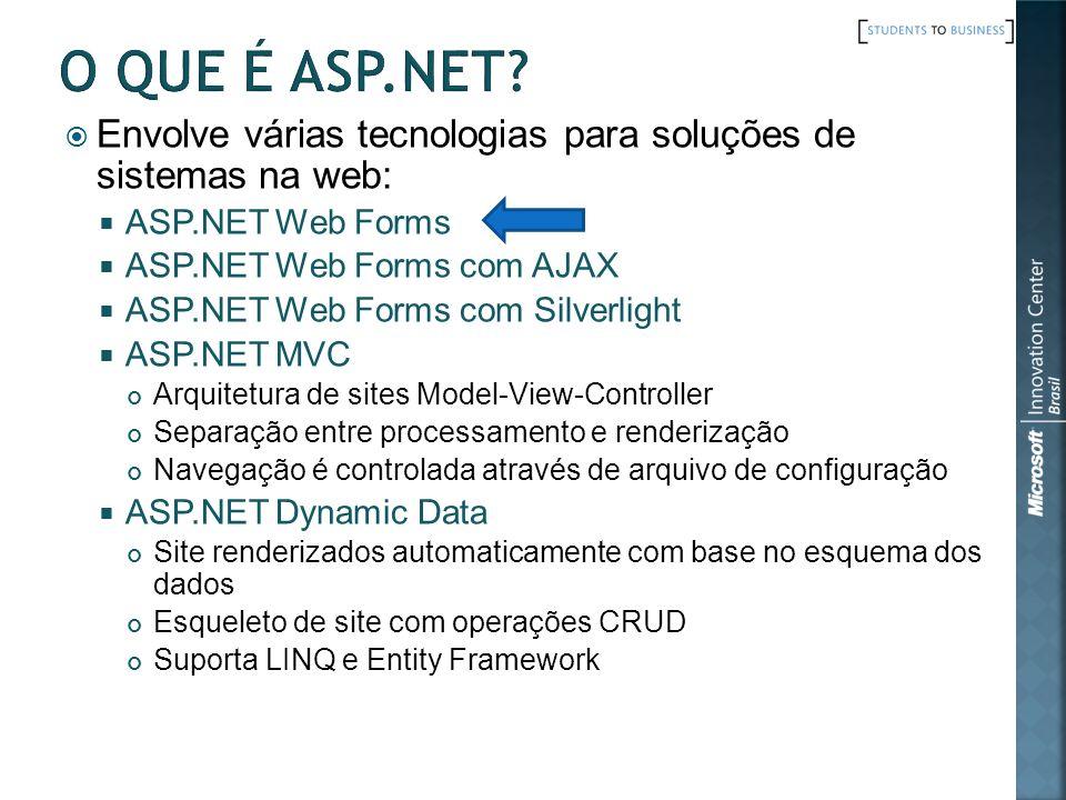 Envolve várias tecnologias para soluções de sistemas na web: ASP.NET Web Forms ASP.NET Web Forms com AJAX ASP.NET Web Forms com Silverlight ASP.NET MV