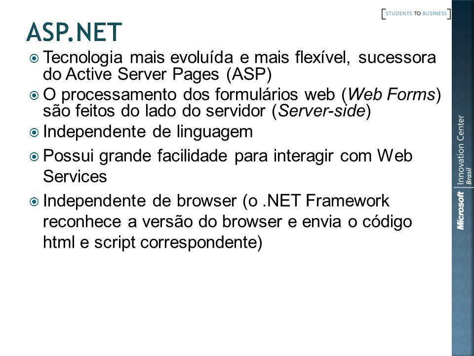 Tecnologia mais evoluída e mais flexível, sucessora do Active Server Pages (ASP) O processamento dos formulários web (Web Forms) são feitos do lado do