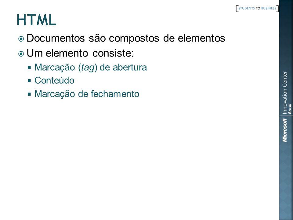 Documentos são compostos de elementos Um elemento consiste: Marcação (tag) de abertura Conteúdo Marcação de fechamento