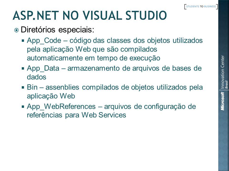 Diretórios especiais: App_Code – código das classes dos objetos utilizados pela aplicação Web que são compilados automaticamente em tempo de execução