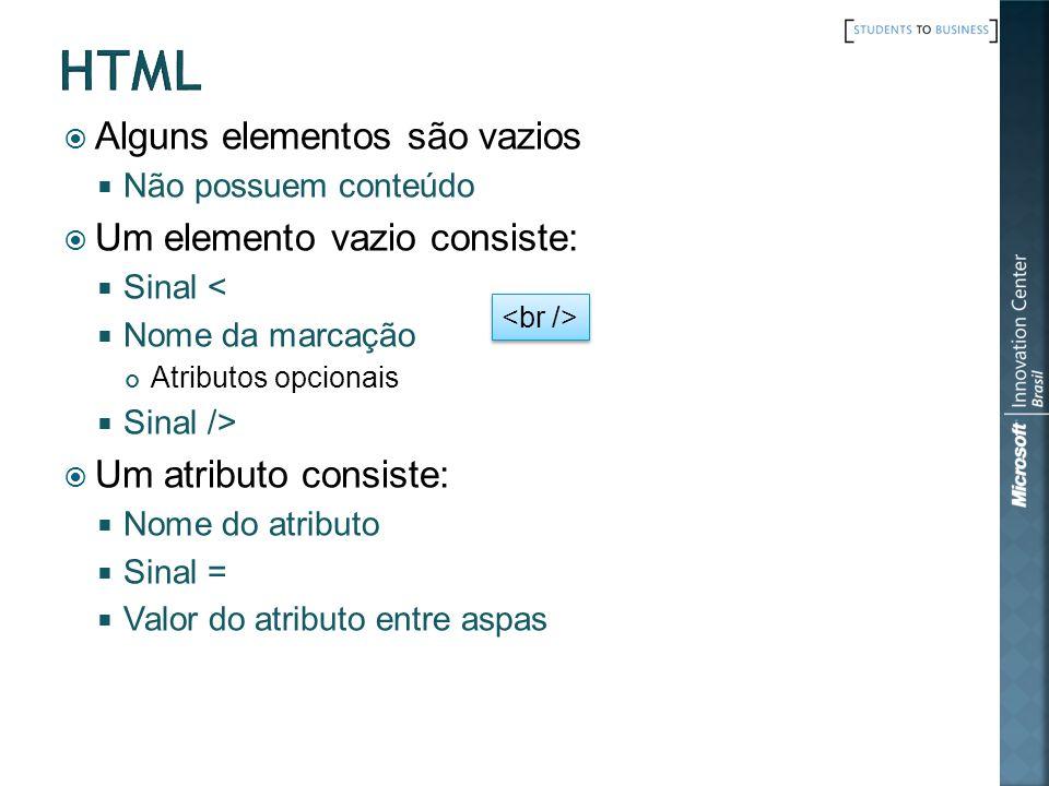 Um documento HTML é composto de 3 partes: Uma linha contendo o tipo do documento Uma seção declarativa de cabeçalho Elemento HEAD Uma seção de corpo que define o conteúdo do documento Elementos BODY ou FRAMESET As seções de cabeçalho e corpo deve estar aninhadas dentro do elemento HTML