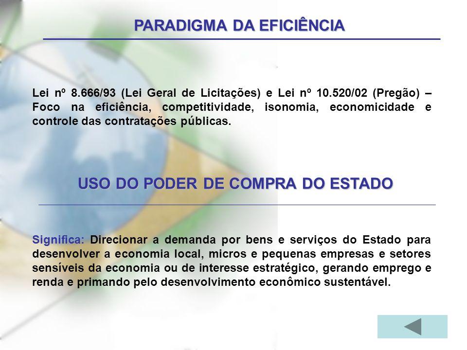 PARADIGMA DA EFICIÊNCIA Lei nº 8.666/93 (Lei Geral de Licitações) e Lei nº 10.520/02 (Pregão) – Foco na eficiência, competitividade, isonomia, economicidade e controle das contratações públicas.