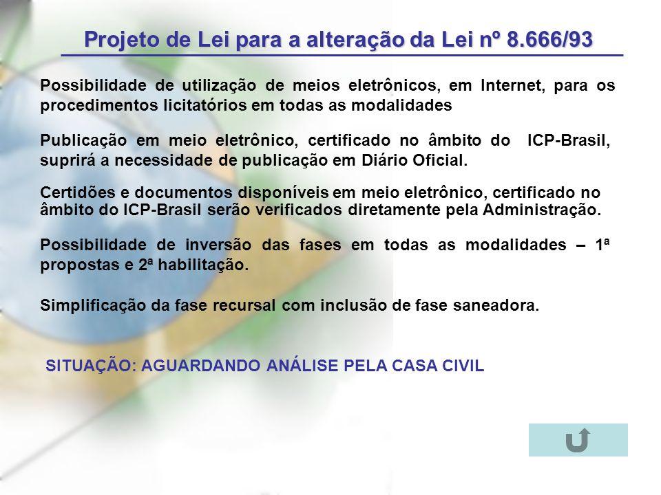 Projeto de Lei para a alteração da Lei nº 8.666/93 Possibilidade de utilização de meios eletrônicos, em Internet, para os procedimentos licitatórios em todas as modalidades Publicação em meio eletrônico, certificado no âmbito do ICP-Brasil, suprirá a necessidade de publicação em Diário Oficial.