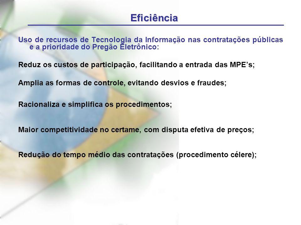 Uso de recursos de Tecnologia da Informação nas contratações públicas e a prioridade do Pregão Eletrônico: Reduz os custos de participação, facilitand
