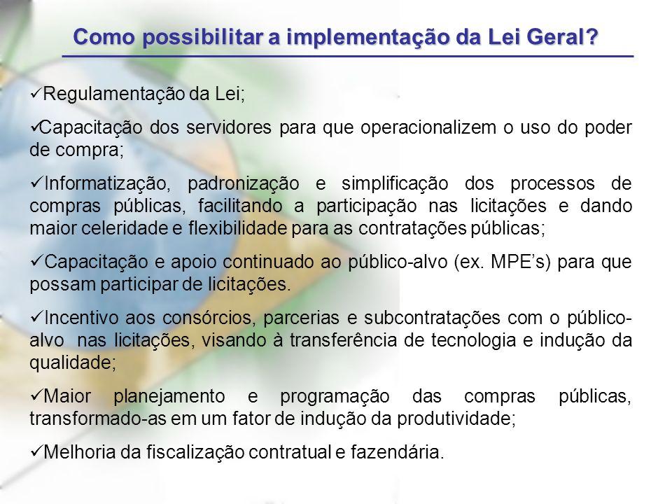 Como possibilitar a implementação da Lei Geral? Regulamentação da Lei; Capacitação dos servidores para que operacionalizem o uso do poder de compra; I