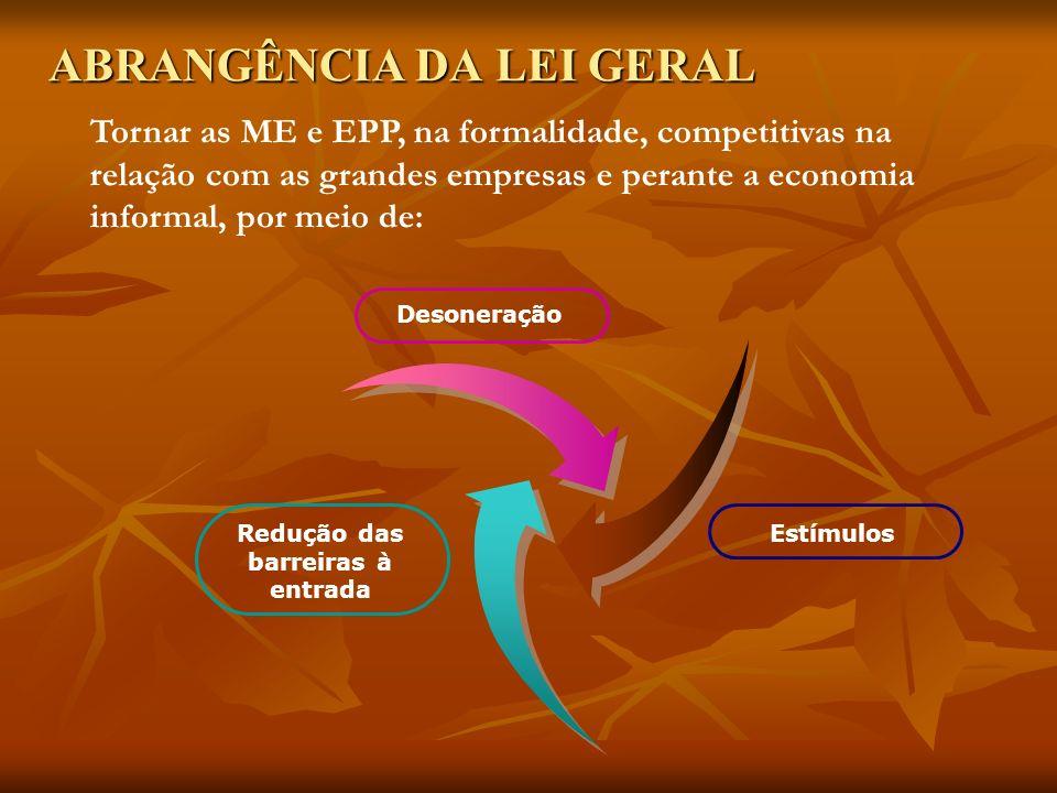 ABRANGÊNCIA DA LEI GERAL Redução das barreiras à entrada Desoneração Estímulos Tornar as ME e EPP, na formalidade, competitivas na relação com as grandes empresas e perante a economia informal, por meio de: