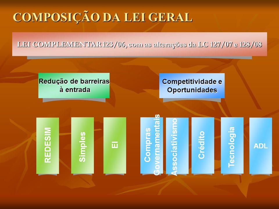 COMPOSIÇÃO DA LEI GERAL Redução de barreiras à entrada à entrada Competitividade e Oportunidades LEI COMPLEMENTAR 123/06, com as alterações da LC 127/07 e 128/08 REDESIM Simples EI Compras Governamentais Associativismo Crédito Tecnologia ADL