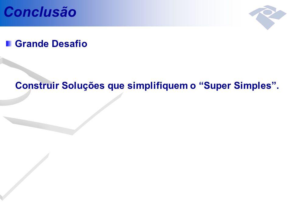 Conclusão Grande Desafio Construir Soluções que simplifiquem o Super Simples.