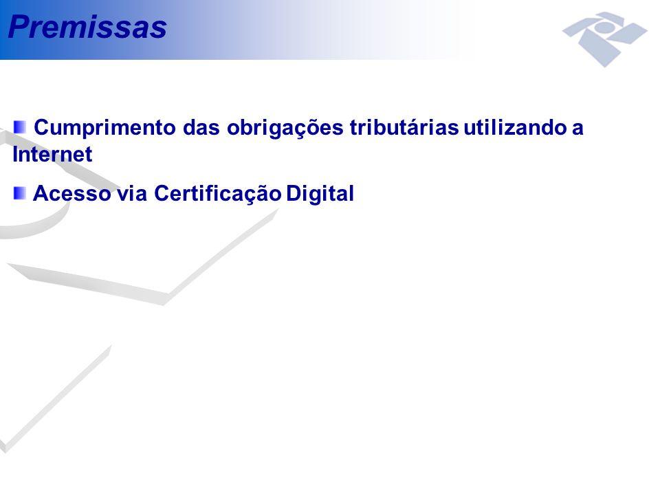 Premissas Cumprimento das obrigações tributárias utilizando a Internet Acesso via Certificação Digital