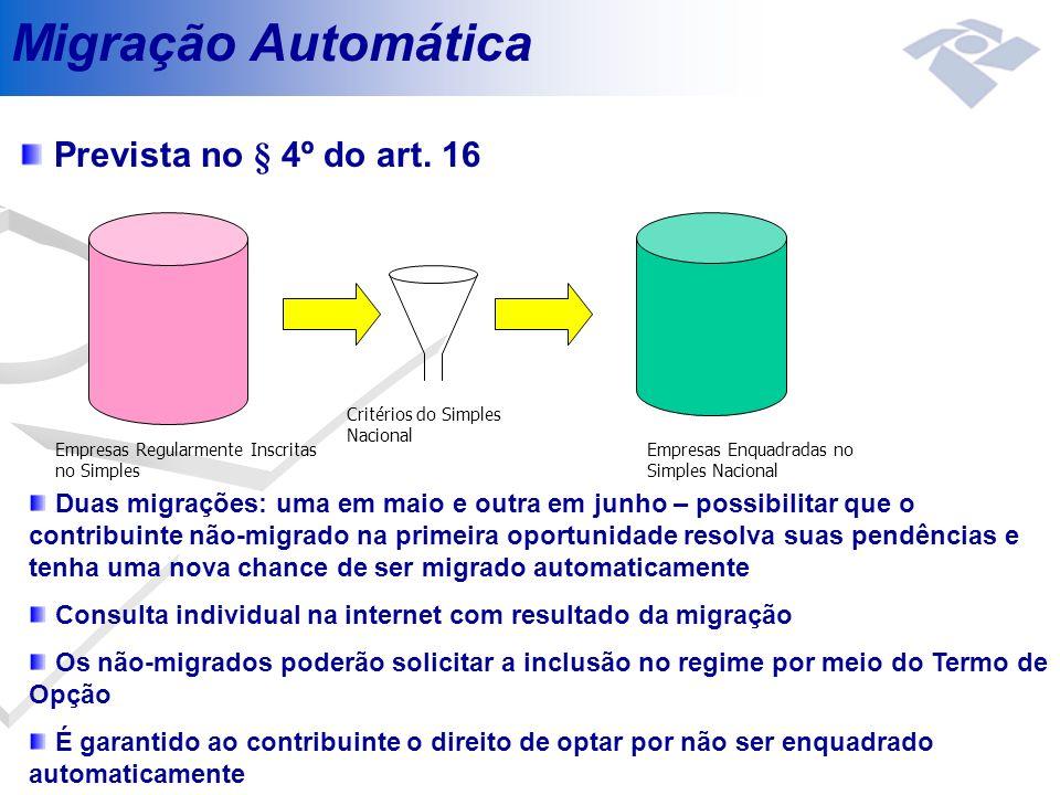 Migração Automática Prevista no § 4º do art. 16 Empresas Regularmente Inscritas no Simples Critérios do Simples Nacional Empresas Enquadradas no Simpl