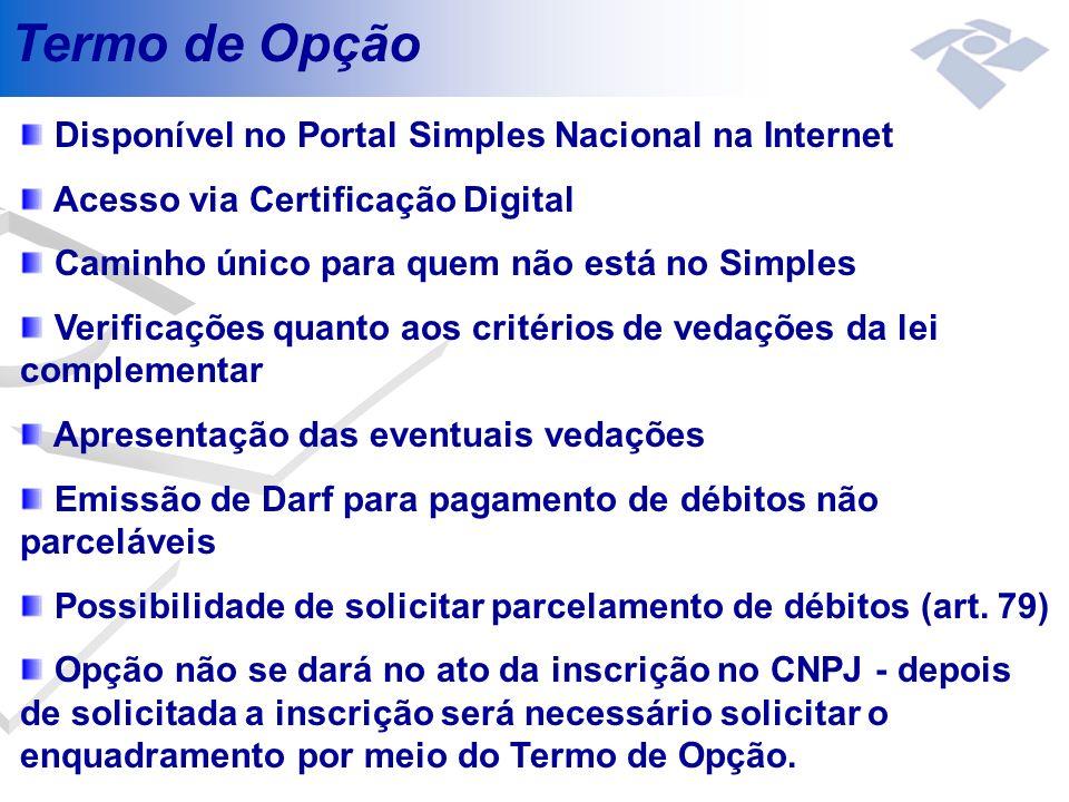 Termo de Opção Disponível no Portal Simples Nacional na Internet Acesso via Certificação Digital Caminho único para quem não está no Simples Verificaç