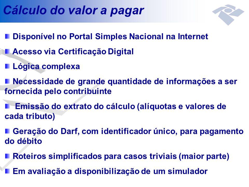 Cálculo do valor a pagar Disponível no Portal Simples Nacional na Internet Acesso via Certificação Digital Lógica complexa Necessidade de grande quant