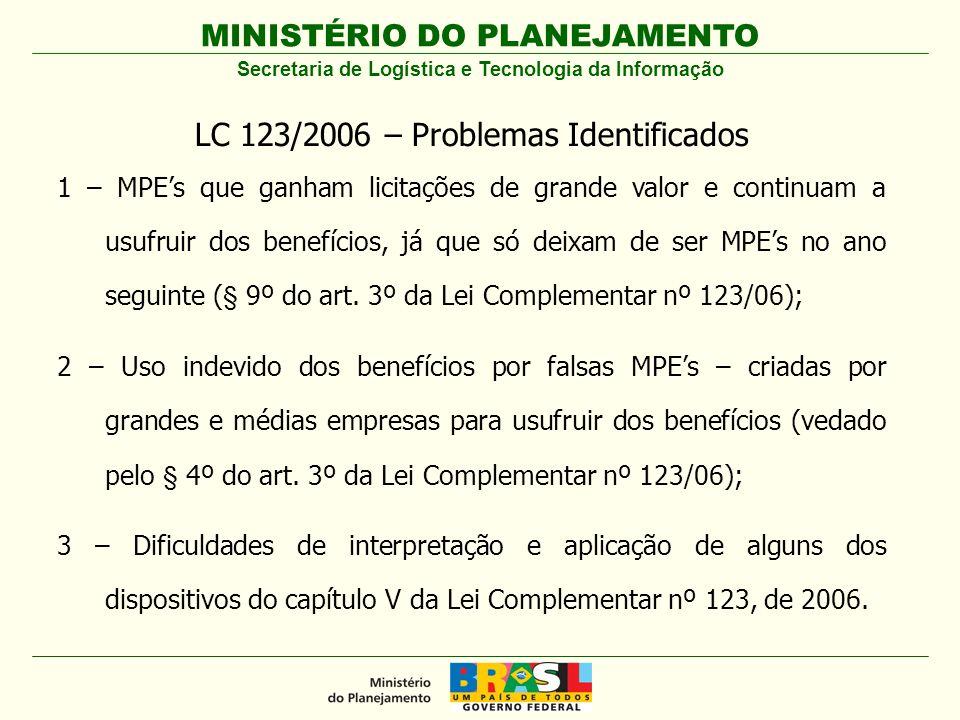 MINISTÉRIO DO PLANEJAMENTO LC 123/2006 – Problemas Identificados 1 – MPEs que ganham licitações de grande valor e continuam a usufruir dos benefícios,