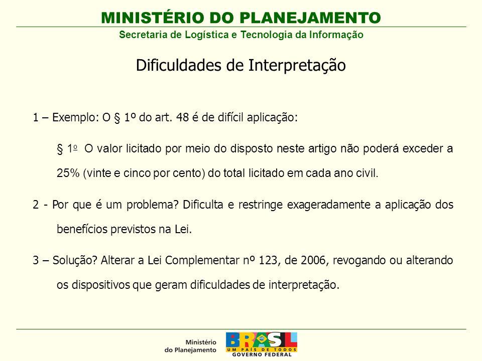 MINISTÉRIO DO PLANEJAMENTO Secretaria de Logística e Tecnologia da Informação Dificuldades de Interpretação 1 – Exemplo: O § 1º do art. 48 é de difíci