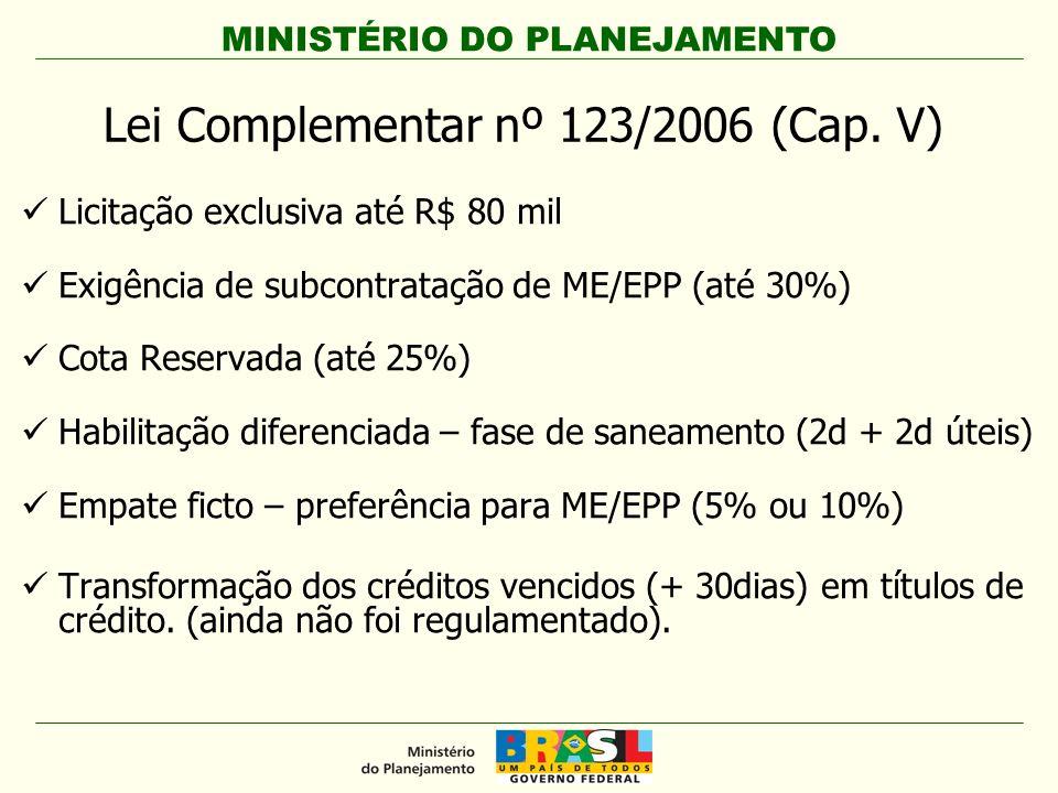 MINISTÉRIO DO PLANEJAMENTO Lei Complementar nº 123/2006 (Cap. V) Licitação exclusiva até R$ 80 mil Exigência de subcontratação de ME/EPP (até 30%) Cot