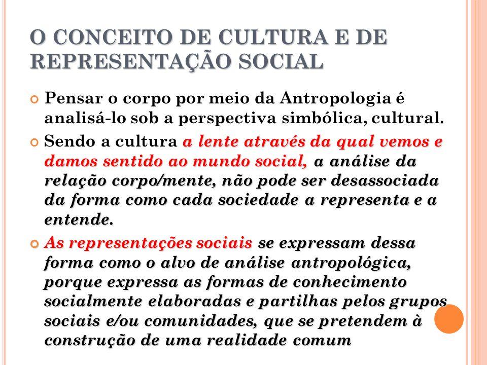 O CONCEITO DE CULTURA E DE REPRESENTAÇÃO SOCIAL Pensar o corpo por meio da Antropologia é analisá-lo sob a perspectiva simbólica, cultural. a lente at
