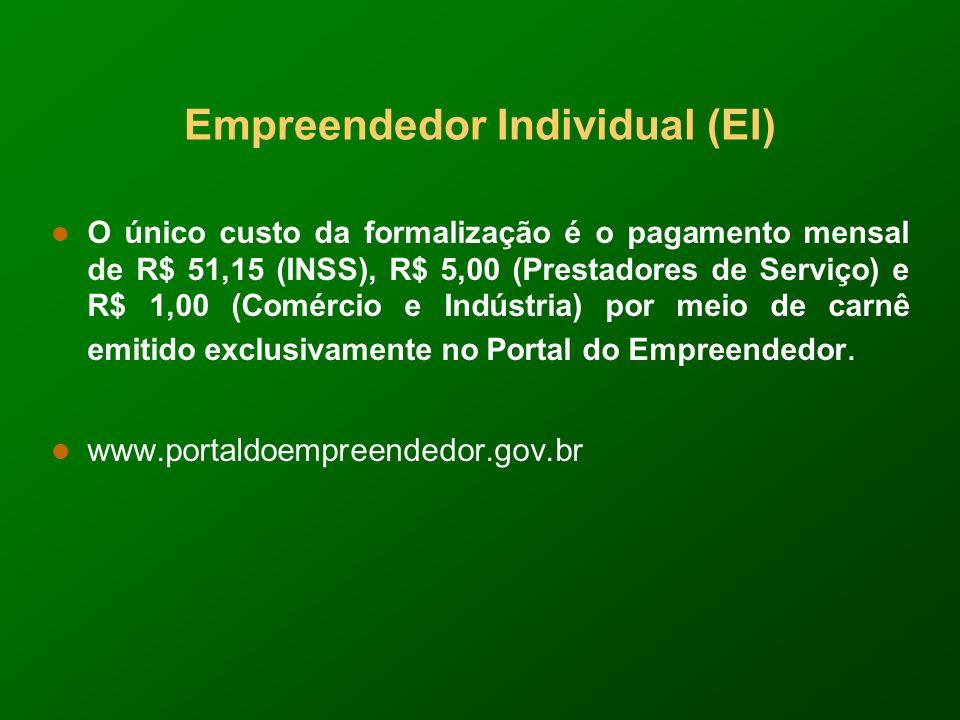 Empreendedor Individual (EI) O único custo da formalização é o pagamento mensal de R$ 51,15 (INSS), R$ 5,00 (Prestadores de Serviço) e R$ 1,00 (Comércio e Indústria) por meio de carnê emitido exclusivamente no Portal do Empreendedor.
