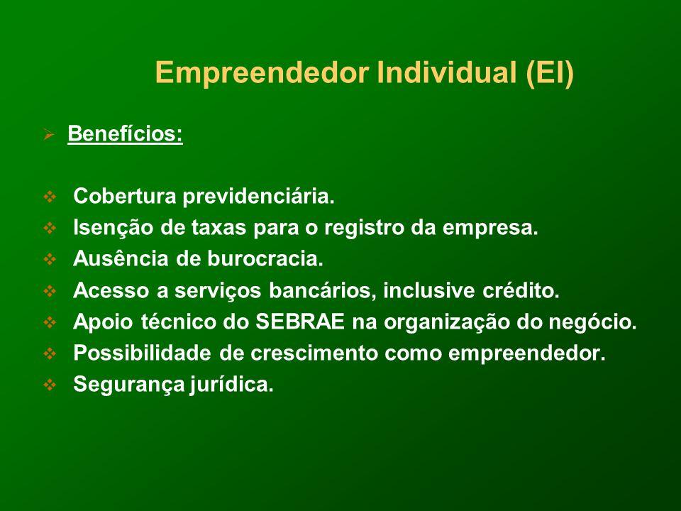 Empreendedor Individual (EI) Benefícios: Cobertura previdenciária.