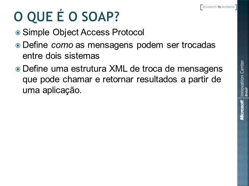 Simple Object Access Protocol Define como as mensagens podem ser trocadas entre dois sistemas Define uma estrutura XML de troca de mensagens que pode