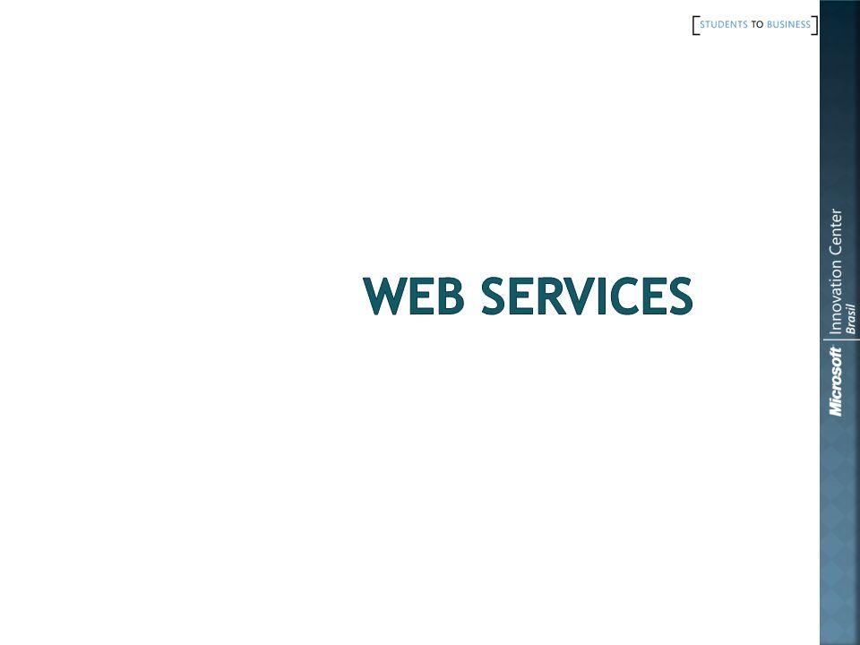 Cliente do Web Service Windows Application SOAPMessage XML SOAPMessage XML SOAPMessage XML SOAPMessage XML XML Web Service SOAPResponse SOAPRequest Rede HTTPMessage HTML HTTPMessage HTML HTTPRequest GET- POST Servidor Web