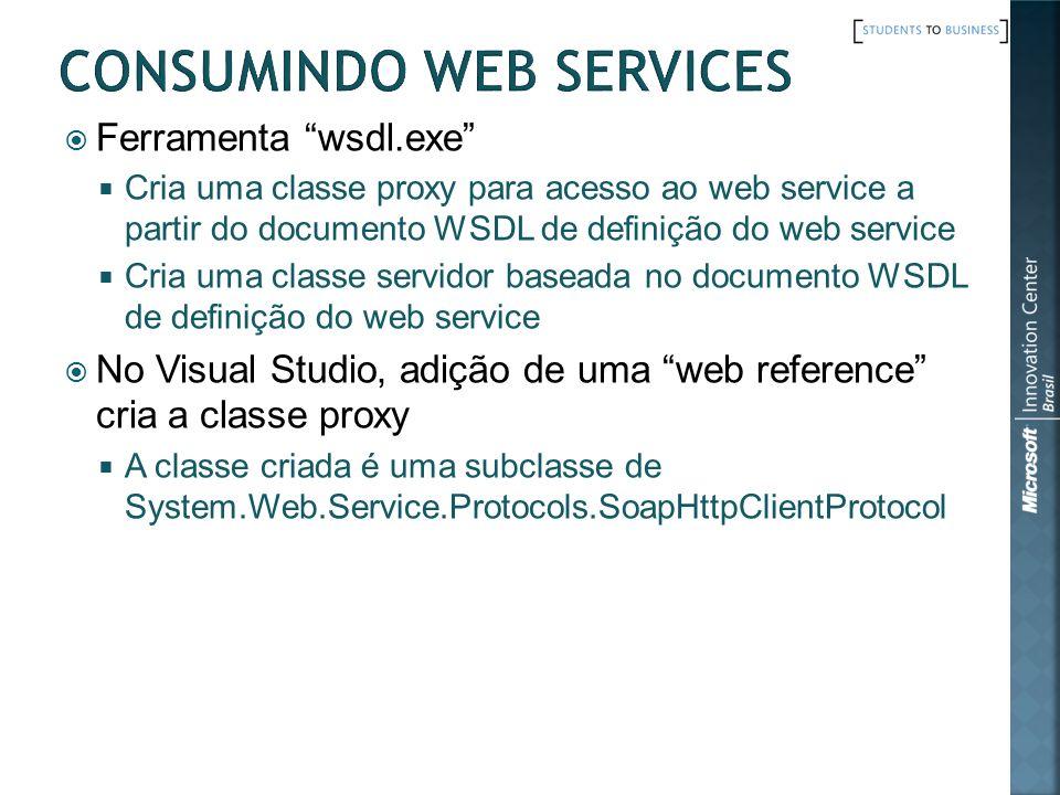 Ferramenta wsdl.exe Cria uma classe proxy para acesso ao web service a partir do documento WSDL de definição do web service Cria uma classe servidor b