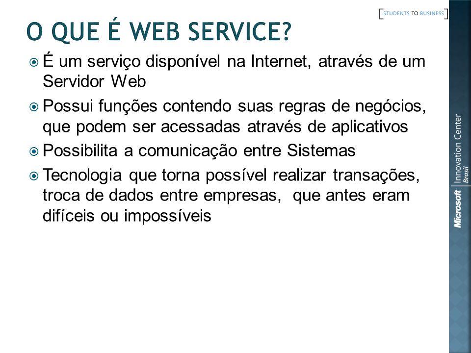 É um serviço disponível na Internet, através de um Servidor Web Possui funções contendo suas regras de negócios, que podem ser acessadas através de ap
