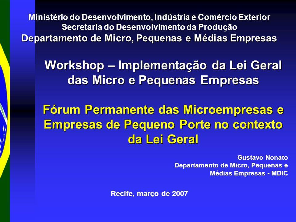 Recife, março de 2007 Workshop – Implementação da Lei Geral das Micro e Pequenas Empresas Fórum Permanente das Microempresas e Empresas de Pequeno Por