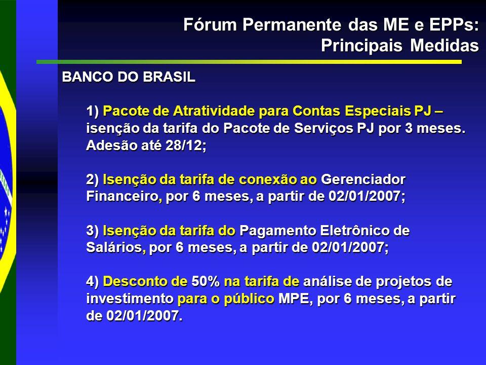 Fórum Permanente das ME e EPPs: Principais Medidas BANCO DO BRASIL 1) Pacote de Atratividade para Contas Especiais PJ – isenção da tarifa do Pacote de