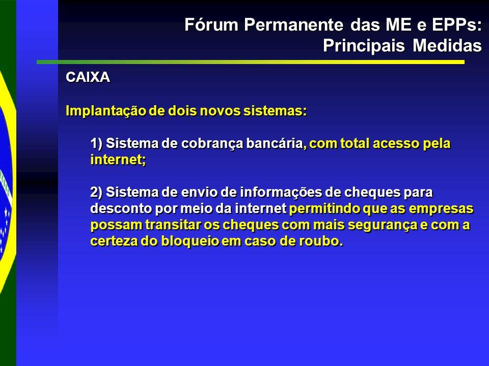 Fórum Permanente das ME e EPPs: Principais Medidas CAIXA Implantação de dois novos sistemas: 1) Sistema de cobrança bancária, com total acesso pela in