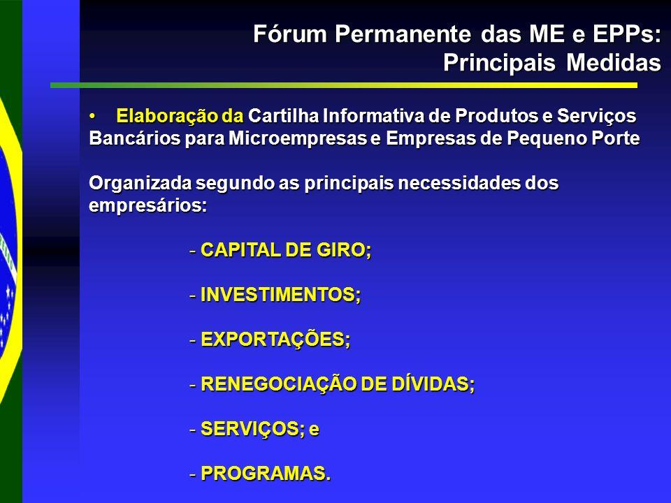 Fórum Permanente das ME e EPPs: Principais Medidas Elaboração da Cartilha Informativa de Produtos e Serviços Bancários para Microempresas e Empresas de Pequeno Porte Elaboração da Cartilha Informativa de Produtos e Serviços Bancários para Microempresas e Empresas de Pequeno Porte Organizada segundo as principais necessidades dos empresários: - CAPITAL DE GIRO; - INVESTIMENTOS; - EXPORTAÇÕES; - RENEGOCIAÇÃO DE DÍVIDAS; - SERVIÇOS; e - PROGRAMAS.