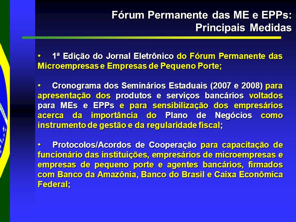 Fórum Permanente das ME e EPPs: Principais Medidas 1ª Edição do Jornal Eletrônico do Fórum Permanente das Microempresas e Empresas de Pequeno Porte; 1