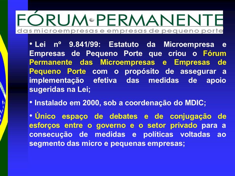 Lei nº 9.841/99: Estatuto da Microempresa e Empresas de Pequeno Porte que criou o Fórum Permanente das Microempresas e Empresas de Pequeno Porte com o propósito de assegurar a implementação efetiva das medidas de apoio sugeridas na Lei; Instalado em 2000, sob a coordenação do MDIC; Único espaço de debates e de conjugação de esforços entre o governo e o setor privado para a consecução de medidas e políticas voltadas ao segmento das micro e pequenas empresas;