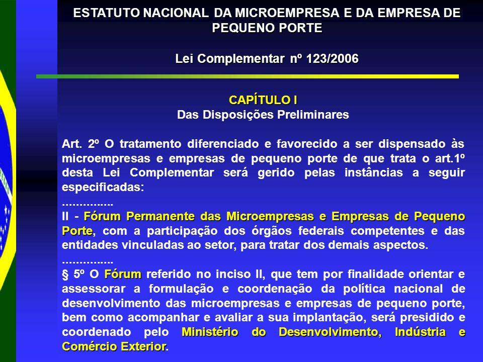 ESTATUTO NACIONAL DA MICROEMPRESA E DA EMPRESA DE PEQUENO PORTE Lei Complementar nº 123/2006 CAPÍTULO I Das Disposições Preliminares Art.