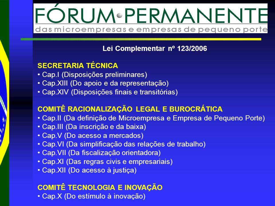 Lei Complementar nº 123/2006 SECRETARIA TÉCNICA Cap.I (Disposições preliminares) Cap.XIII (Do apoio e da representação) Cap.XIV (Disposições finais e transitórias) COMITÊ RACIONALIZAÇÃO LEGAL E BUROCRÁTICA Cap.II (Da definição de Microempresa e Empresa de Pequeno Porte) Cap.III (Da inscrição e da baixa) Cap.V (Do acesso a mercados) Cap.VI (Da simplificação das relações de trabalho) Cap.VII (Da fiscalização orientadora) Cap.XI (Das regras civis e empresariais) Cap.XII (Do acesso à justiça) COMITÊ TECNOLOGIA E INOVAÇÃO Cap.X (Do estímulo à inovação)