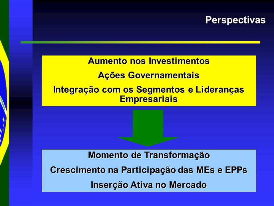 Perspectivas Aumento nos Investimentos Ações Governamentais Integração com os Segmentos e Lideranças Empresariais Momento de Transformação Crescimento na Participação das MEs e EPPs Inserção Ativa no Mercado