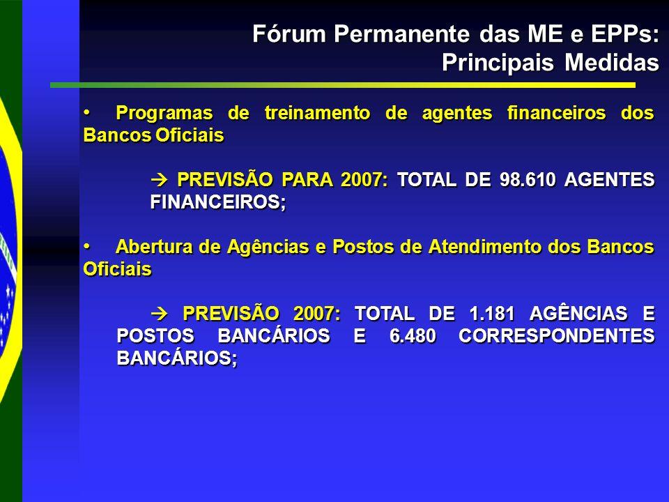 Fórum Permanente das ME e EPPs: Principais Medidas Programas de treinamento de agentes financeiros dos Bancos Oficiais Programas de treinamento de agentes financeiros dos Bancos Oficiais PREVISÃO PARA 2007: TOTAL DE 98.610 AGENTES FINANCEIROS; PREVISÃO PARA 2007: TOTAL DE 98.610 AGENTES FINANCEIROS; Abertura de Agências e Postos de Atendimento dos Bancos Oficiais Abertura de Agências e Postos de Atendimento dos Bancos Oficiais PREVISÃO 2007: TOTAL DE 1.181 AGÊNCIAS E POSTOS BANCÁRIOS E 6.480 CORRESPONDENTES BANCÁRIOS; PREVISÃO 2007: TOTAL DE 1.181 AGÊNCIAS E POSTOS BANCÁRIOS E 6.480 CORRESPONDENTES BANCÁRIOS;