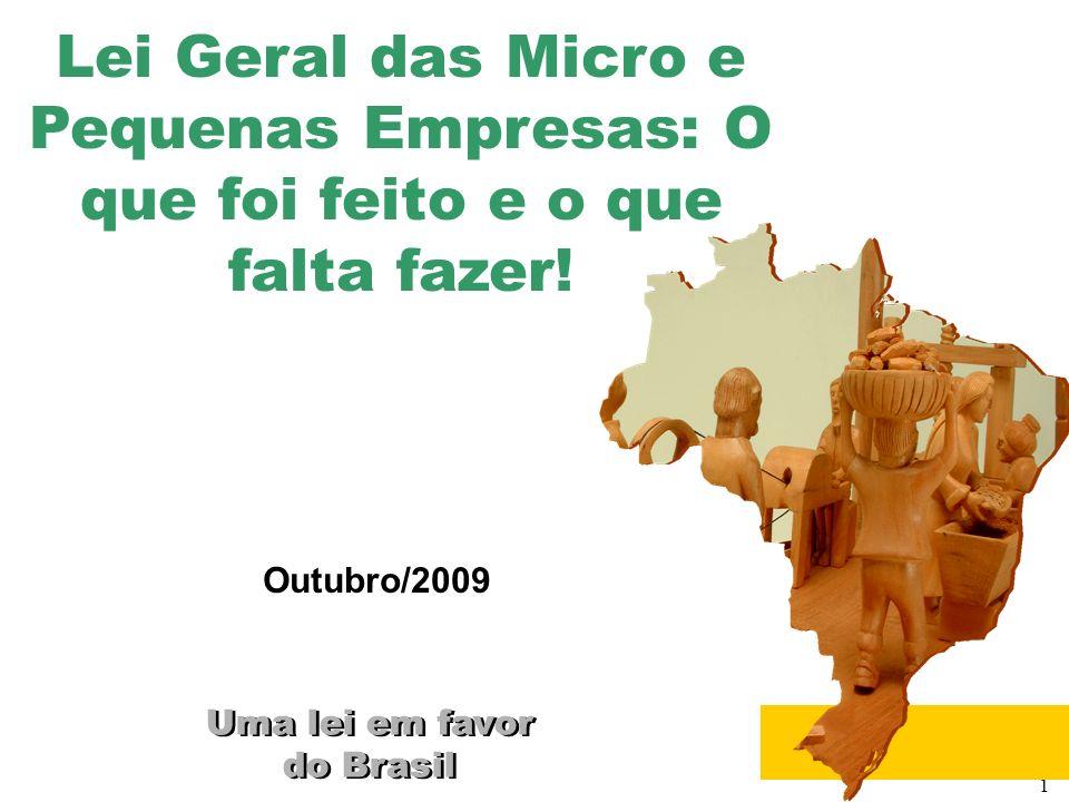 1 Uma lei em favor do Brasil Uma lei em favor do Brasil Outubro/2009 Lei Geral das Micro e Pequenas Empresas: O que foi feito e o que falta fazer!