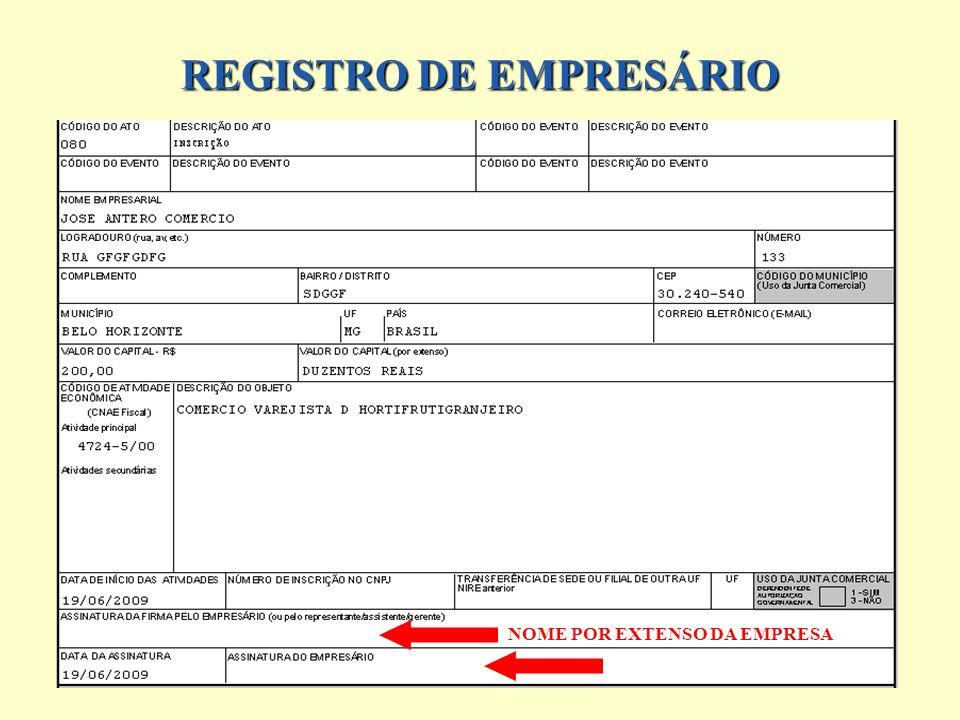 REGISTRO DE EMPRESÁRIO NOME POR EXTENSO DA EMPRESA