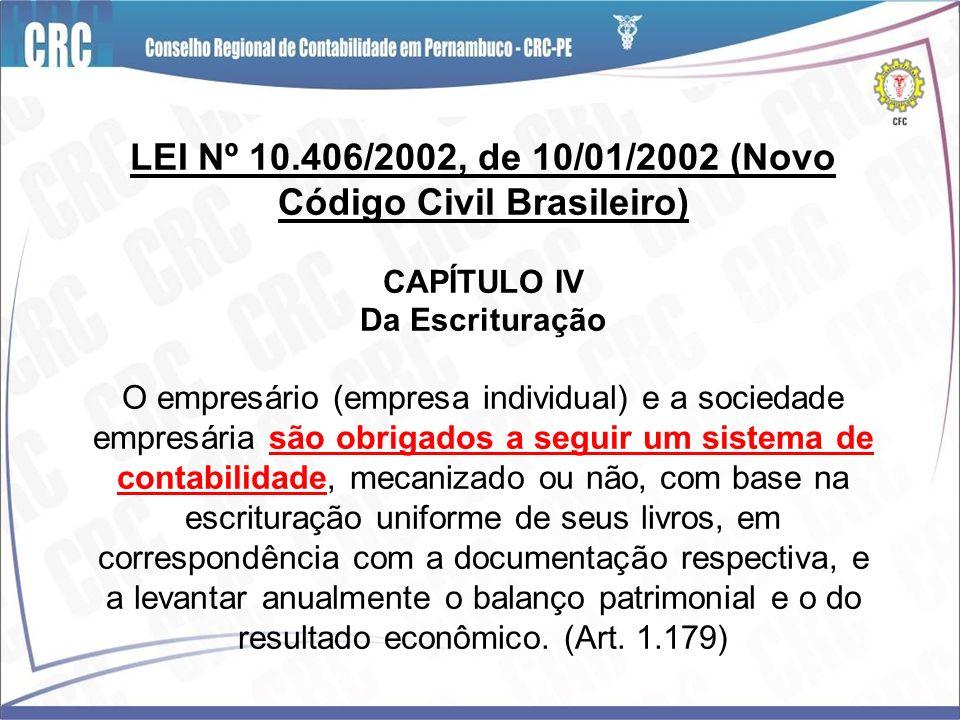 LEI Nº 10.406/2002, de 10/01/2002 (Novo Código Civil Brasileiro) CAPÍTULO IV Da Escrituração O empresário (empresa individual) e a sociedade empresári