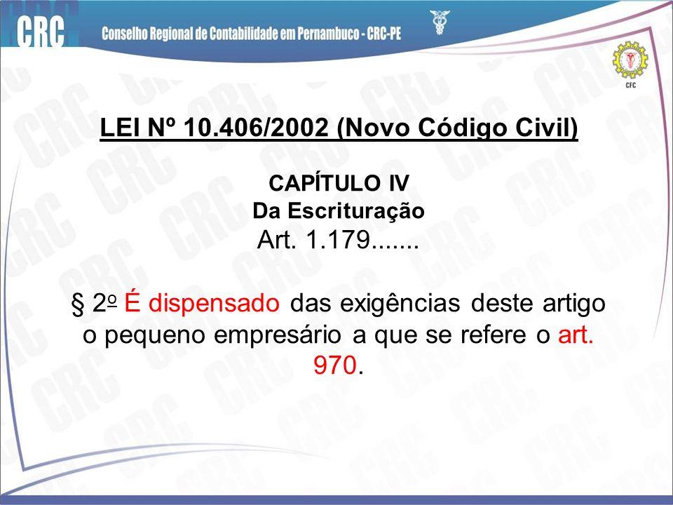 LEI Nº 10.406/2002 (Novo Código Civil) CAPÍTULO IV Da Escrituração Art. 1.179....... § 2 o É dispensado das exigências deste artigo o pequeno empresár