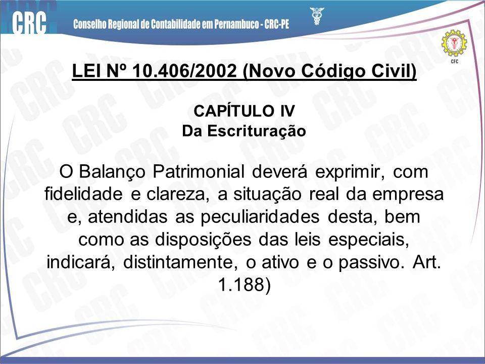 LEI Nº 10.406/2002 (Novo Código Civil) CAPÍTULO IV Da Escrituração O Balanço Patrimonial deverá exprimir, com fidelidade e clareza, a situação real da