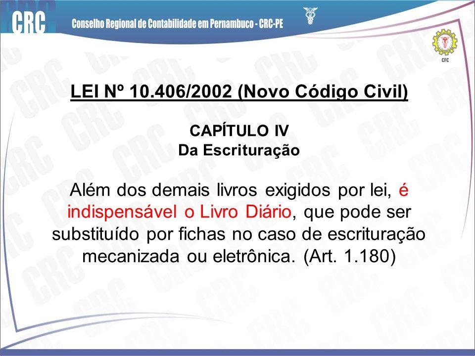 LEI Nº 10.406/2002 (Novo Código Civil) CAPÍTULO IV Da Escrituração Além dos demais livros exigidos por lei, é indispensável o Livro Diário, que pode s