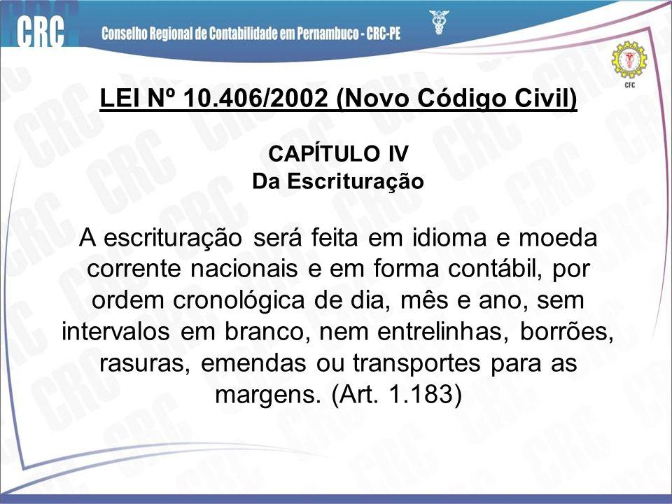 LEI Nº 10.406/2002 (Novo Código Civil) CAPÍTULO IV Da Escrituração A escrituração será feita em idioma e moeda corrente nacionais e em forma contábil,