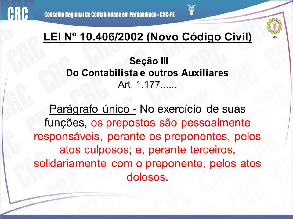 LEI Nº 10.406/2002 (Novo Código Civil) Seção III Do Contabilista e outros Auxiliares Art. 1.177...... Parágrafo único - No exercício de suas funções,