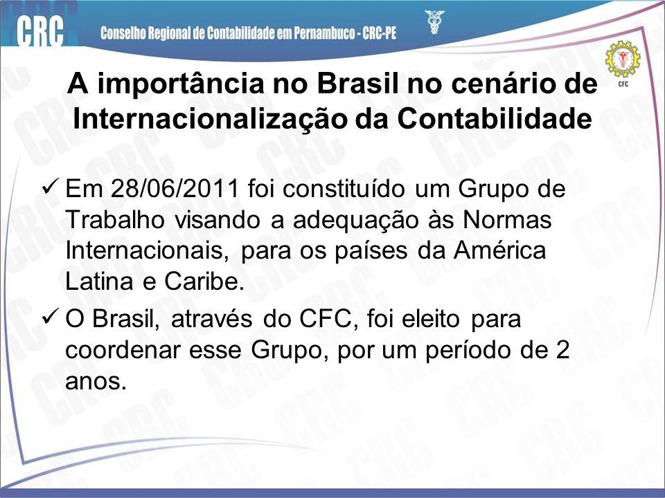 A importância no Brasil no cenário de Internacionalização da Contabilidade Em 28/06/2011 foi constituído um Grupo de Trabalho visando a adequação às N
